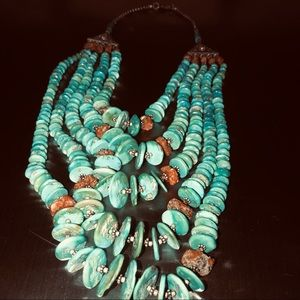 Turquoise and coral heishi disc necklace